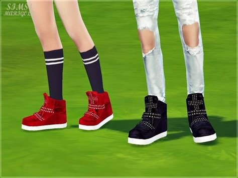 Male cross-stud high top sneakers at Marigold » Sims 4 Updates