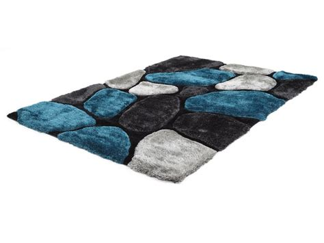 Tapis shaggy turquoise et gris polyester 3 tailles PIETRA