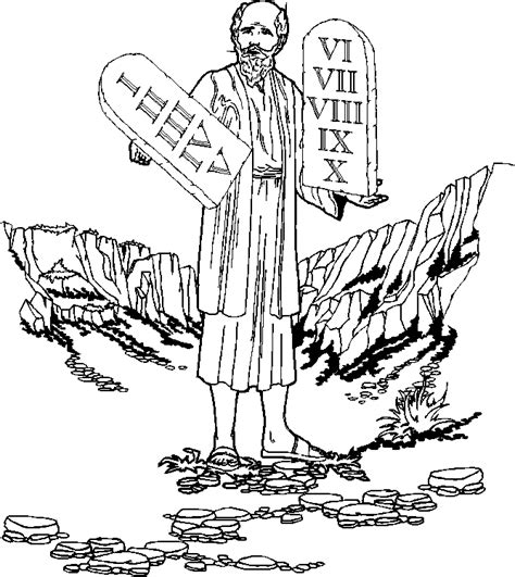 Moses and the Ten Commandments (coloring page