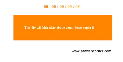 Hide Div after Countdown Expired using javascript