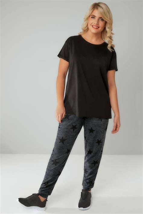 Grey Star Print Joggers, Plus size 16 to 36
