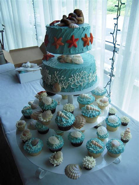 Under the Sea wedding cake & cupcakes | completely edible